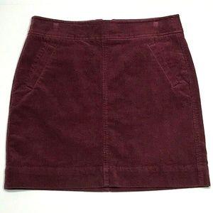 LOFT 4 Corduroy Pocket Mini Skirt Burgundy EUC